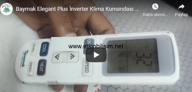 Baymak Elegant Plus İnverter Klima Kumandası Kullanımı